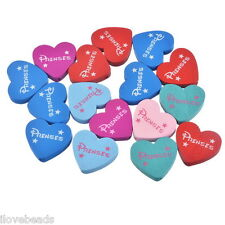 50PCs Mixed Heart-Shaped PRENSES Alphabet Wood Bead Cardmaking 21x23mm