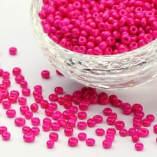 LOT de 35g (env.500 pcs) PERLES rocaille VERRE ROSE FUCHSIA 4mm 6/0 bijoux