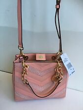 NWT Michael Kors Cynthia NorthSouth Satchel Pale Pink/Gold Embossed Leather 368$