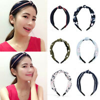 Womens Headband Twist Hairband Bow Knot Cross Wide Headwrap Hair Band Access