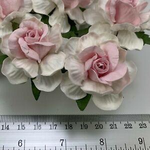 "2"" White - SOFT Pink Center Mulberry Paper Flower Scrapbook Wedding Rose Craft"