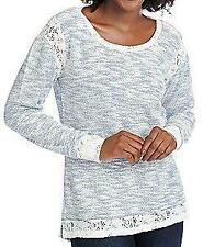 NEW OSO Casuals™ Textured Slub Knit Floral Lace Trim Hi-Lo Sweater - Sz. S