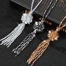 Long Tassel Necklace Elegant Sweater Flower Crystal Bead Women Chain Pendant