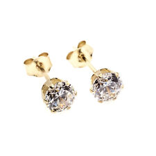 9ct gold stud earrings 3 mm CZ clear round solitaires (post and backs also gold)