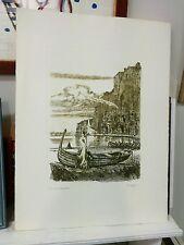 DE ANDREIS GIOVANBATTISTA bellissima acquaforte + cornice Donna barca grecoarte