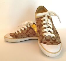 """COACH GOLDEN Signature Canvas """"Bobbey"""" Sneakers Running Shoes Size 7.5B"""