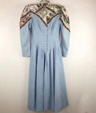 Vintage Prairie Dress 7 8 S Blue Floral Chambray Maxi Modest Victorian 80s 70s