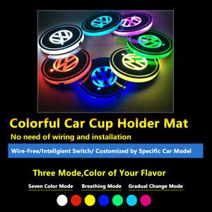 2pcs Colorful LED Coaster Atmosphere Car Light For Volkswagen VW Neon Lights