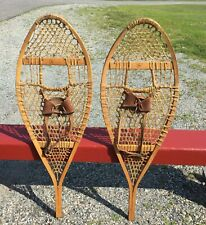 NICE STYLE Vintage 'Faber' SNOWSHOES 41x14 w/ LEATHER BINDINGS Snow Shoes