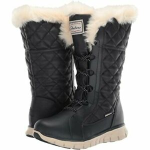 new size 7 SKECHERS mid calf WATERPROOF insulated boots womens ladies girls navy