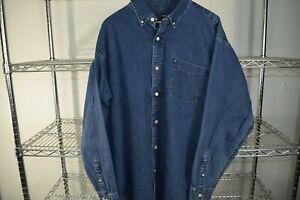 vtg Ralph Lauren Jeans Denim Jean Shirt Button Up Men's XL
