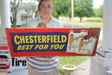 "Vintage 1950's Chesterfield Cigarettes Tobacco Gas Oil 32"" Embossed Metal Sign"