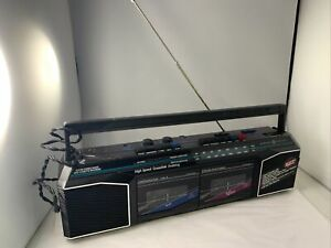 GE AM/FM Stereo Dual Radio Cassette Recorder Boombox 3-5630GYB Works Great