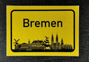 Aufkleber Ortschild Bremen mit Skyline