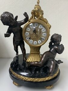 Vintage Imperial Italian Mantel Clock Bronze/Brass and Marble with 2 Candelabras