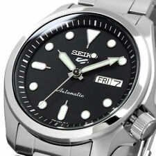 New SEIKO 5 SRPE55K1 Automatic Full Stainless Steel 40mm Black Dial 24 jewels