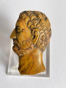 """Antique Carved Stone Roman Emperor SEPTIMIUS SEVERUS Portrait Bust 3 5/8"""""""