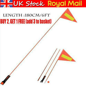 Safety Flag Orange 180CM Long Pole 3-parts Tricycle Bicycle Trailer Bike New