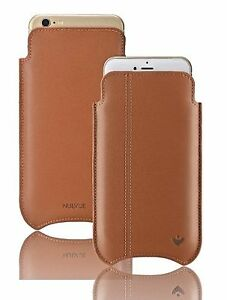 For iPhone 8 / 7 Case Soft Tan Leather NUEVUE Sanitizing Screen Cleaning Sleeve