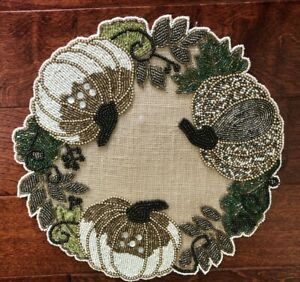 x2 NICOLE MILLER Fall PUMPKIN & LEAVES Beaded Jute PLACEMATS CHARGERS Bronze NWT