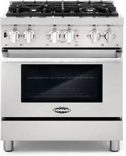 """30"""" 3.9 cu ft Dual Fuel Gas Range Convection Oven 4 Italian Burners Stainless"""