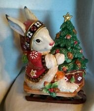 Fitz and Floyd Classics Christmas Lodge Rabbit Lidded Box