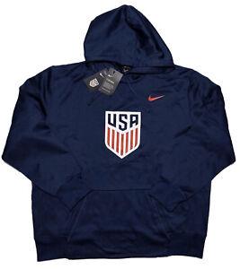 NIKE Therma-Fit USA Soccer USMNT Hoodie Jacket Blue XXL 2XL ~ New