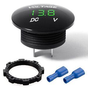 Waterproof Mini Round Voltmeter Meter DC 12V Green LED Car Boat Digital Display