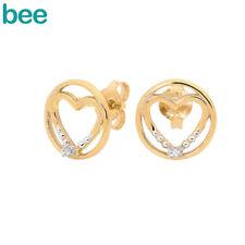 Square Slat Weave Diamond Dress Diamond Heart Studs 9Ct Yellow Gold Earrings