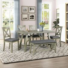 6 Piece Wooden Dining Table Set Rustic Style Kitchen Table w/ 4 Chairs and Bench