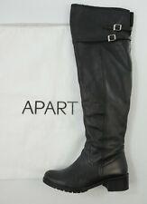 APART flache profilierte Overknee Stiefel 37 Glattleder schwarz Schuhe Biker