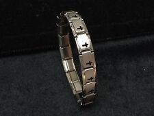 18 Link 9mm Stainless Italian Charm Starter Bracelet Matte Silver Black Cross