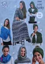 Easy KNITTING PATTERN Wrap Blanket Scarf Snood Cowl Super Chunky KingCole 5068