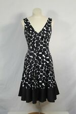 Jones Wear Black & White Polka Dot V Neck Sleeveless Cotton Blend Dress Sz 8 P