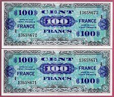 Suite de 2 X 100 francs VERSO FRANCE serie 4 1945 SPL