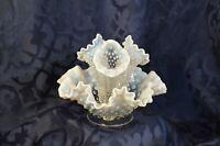 EPERGNE Vase w/ 3 Horns - Fenton French Opalescent Hobnail Glass - Vintage