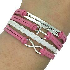 (B17) Vintage handgemaakte Infinity 8 anker verklaring lederen armband armband