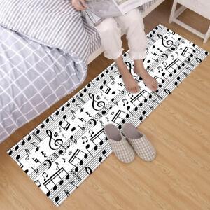 Black & White Pattern Music Note Area Rugs Bedroom Living Room Kitchen Floor Mat