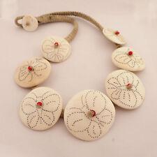"""Disc Conch Shell Beads Necklace 21"""" Tibetan Nepalese Handmade Tibet Nepal UN1789"""