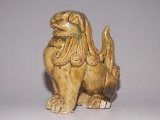 Antique Folk Chinese Guard PiXiu Foo Fu Dog Lion Statue Pottery Clay