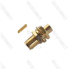 """20x RP-SMA Solder Jack(male pin) bulkhead connector Semi-rigid .141"""" cable RG402"""