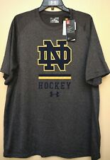 Under Armour Men s XL Notre Dame Ice Hockey Fighting Irish Gray Gold T Shirt  Tee c172cf398