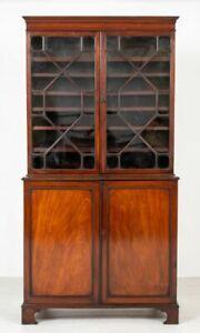 Georgian Library Bookcase - Antique Mahogany Cabinet