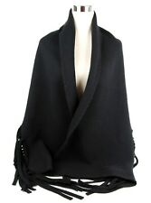 $795 Burberry Black Solid Felted Fringe Wool/Cashmere Scarf Shawl 3995023