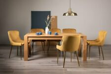 Blake Light Oak 8-10 Seater Dining Table & 8 Cezanne Mustard Velvet Fabric Chair