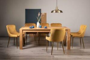 Blake Light Oak 8-10 Seater Dining Table & 8 Cezanne Mustard Velvet Fabric Chair