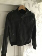 Topshop Womens Black Leather Jacket Size 12