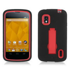 For T-Mobile LG Nexus 4 Impact Hard Rubber Case Phone Cover Kick Stand Black Red