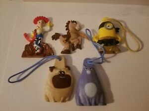 Set of 5 General Mills Secret Life of Pets,Toy Story 2, Minions Figures Danglers
