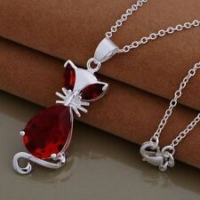 925 STERLING SILVER & RED BERYL CAT/KITTEN/FOX ANIMAL GEMSTONE PENDANT NECKLACE